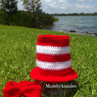 Crochet Cat in the Hat Top Hat, Kids Striped Hat, Crochet bow tie, Crochet Halloween Costume Hat, Red and White Character Hat