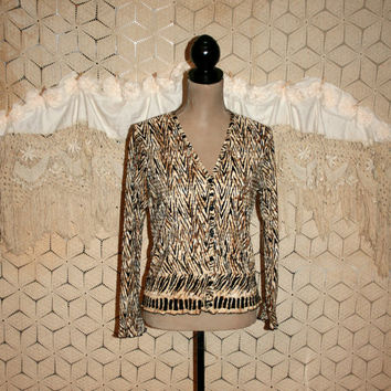 Long Sleeve Blouse Tribal African Animal Print Fall Top Sexy Brown Black Button Up Petite Clothing Small Medium Womens Clothing