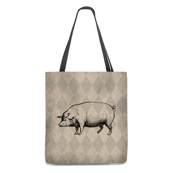 Vintage Style Pig Tote Bag on rustic tan and taupe harlequin background