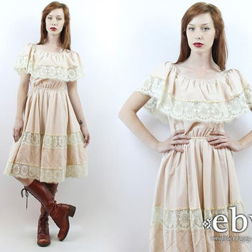 Vintage 70s Mexican Fiesta Dress S M L Festival Dress Hippie Wedding Dress Mexican Dress Hippie Dress Hippy Dress Boho Dress Summer Dress