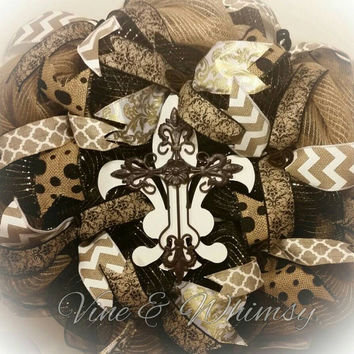 Deco mesh wreath with fleur de lis and cross, door wreath southern decor, burlap ribbon wreath jute mesh, all season door decor black tan