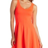 Textured Neon Cut-Out Skater Dress by Charlotte Russe - Fiery Coral