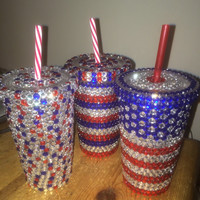 Red, White, and Blue Bedazzled Tumbler
