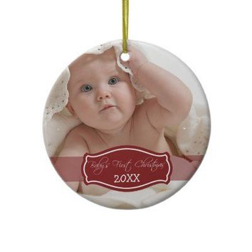 Custom Baby's First Christmas Ornament (red) from Zazzle.com