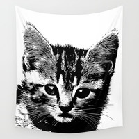 cat 1 black and white #cat #kitty Wall Tapestry by jbjart