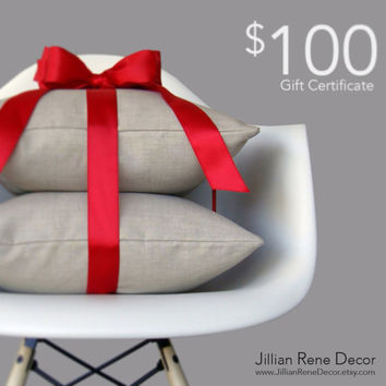 100 Dollar Gift Certificate to JillianReneDecor on Etsy - Handmade Decorative Pillows - Home Decor - Gift Card - Christmas - Hanukah