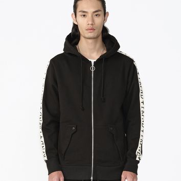 Track Stripe Double Zip Hoodie in Black