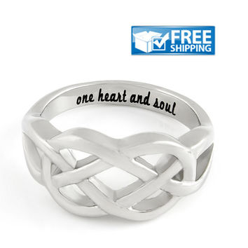 "Love Gift - Double Hearts Couples Ring Engraved on Inside with ""One Heart And Soul"", Sizes 6 to 9"