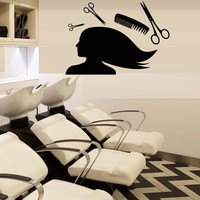 Wall decal art decor decals sticker salon beauty hair  laying master scissors  comb  haircut room (m1152)