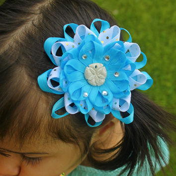 Set of 2 Beach Inspired Pink Starfish & Blue Sand Dollar layered loopy Hairbows.