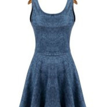 Elegant Women's Scoop Neck Sleeveless Bleach Wash Denim Skater Dress