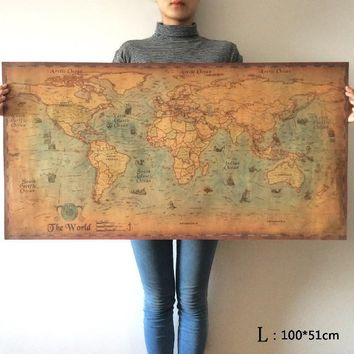 Best old world map poster products on wanelo choose size the old navigation world map huge large vintage style retro paper poster home sciox Choice Image