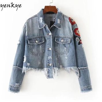 Vintage Autumn Women Floral Embroidery Denim Jacket Long Sleeve Lapel Single-Breasted Ripped Jackets Crop Coat