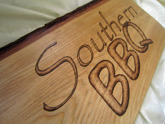 Wood sign southern bbq wall decor from sepiatree pendant