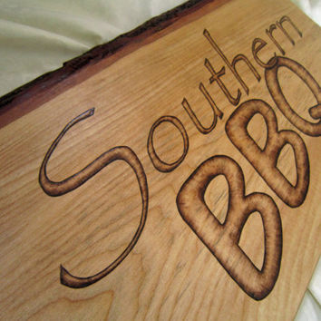 Wood sign Southern BBQ wall decor - country living southern barbeque - southern bbq kitchen or restaurant sign