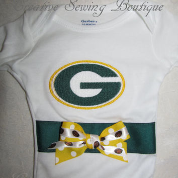 FREE SHIPPING Custom Handmade Green Bay Packers inspired football Onesuit / body suit you choose name and crocheted hat and booties