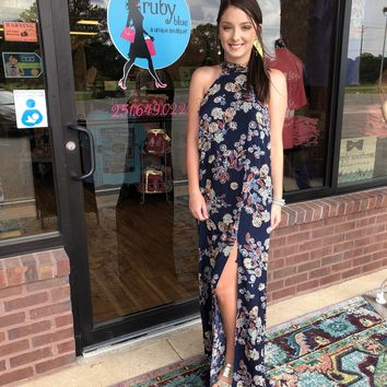 """Hold Onto Me"" High Neck Floral Maxi"