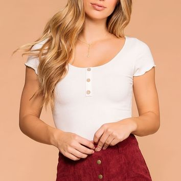 Clear As Day White Button Crop Top