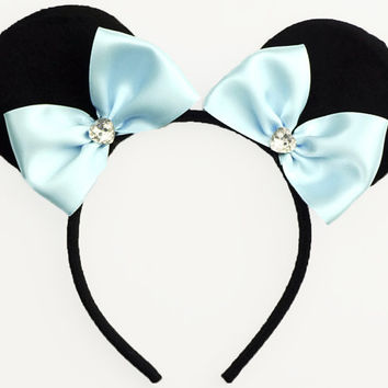 Minnie Mouse Ears Light Blue Mouse Ears Bow Halloween Costume Cinderella Ears Blue Minnie Mouse Bow Minnie Ears Blue Mickey Ears Headband