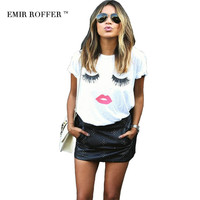 EMIR ROFFER eyelash red lips tshirts print letters female T-shirt