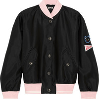 Miu Miu - Appliquéd satin bomber jacket