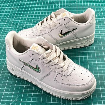 Nike Air Force 1 Low Jewel White Metallic Gold Star Sport Shoes - Best Online Sale