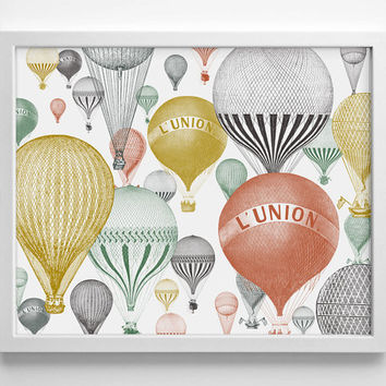 Hot Air Balloons - Art Print - Vintage Engraving - Home - Office Decor - Housewarming Gift - Wedding Gift- Baby Nursery Decor - Dorm Room