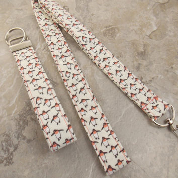 Penguin Lanyard Nurse Lanyard Teacher Lanyard Penguin Key Ring Key Fob Animal Lanyard Work Lanyard Office Lanyard Penguins