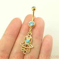 gold hamsa hand Belly Button Rings,gold hand Navel Jewlery,blue bead belly button ring,friendship belly button ring,oceantime