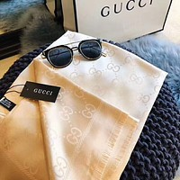 GUCCI Popular Women Men Simple Silk Scarf Silk Kerchief Cape Scarf Scarves Apricot I-YH-FTMPF