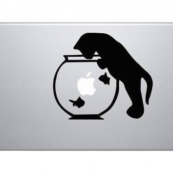 cat & fishdecals mac sticker mac macbook decal by AppleParadise