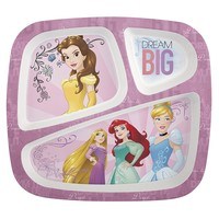 Zak Designs Disney Princess 3-section Kids Plate, Disney Princesses
