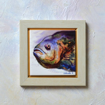 Hand Painted Ceramic Tile Wall Art - Painting  watercolour original - Fish - 10x10 cm, fish head - for men - fisherman