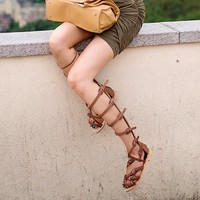 Buckled Calf Gladiator Sandals
