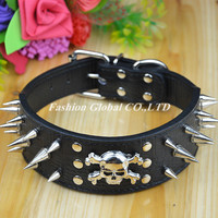2 Inch Width Sharp Spiked Studded PU Leather Dog Collars with Skull Durable Pet Dog Pit-bull Collar Leash Lead