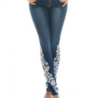 Low-Waist Lace-Spliced Bodycon Jeans