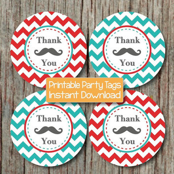 Party Favor Tags Mustache Thank You Labels Baby Shower Birthday Party Printable Little Man DIY Boy Red Aqua Chevron Instant Download - 211