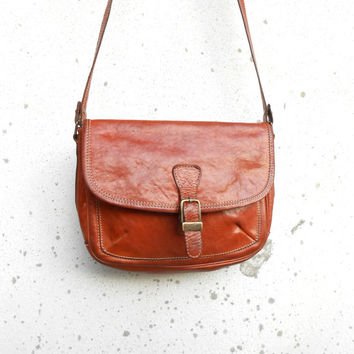 Vintage CLAUDIO FERRICI Brown Leather Purse , Crossbody Bag // Medium