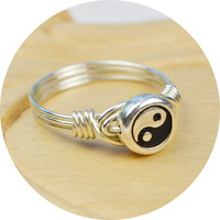 Yin and Yang Ring- Sterling Silver Filled Wire Wrapped Ring with Silver Plated Bead -Any Size- Size 4, 5, 6, 7, 8, 9, 10, 11, 12, 13, 14