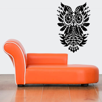 Room Wall Vinyl Sticker Decal Mural Design Mural Abstract Tribal Feather Owl Bird Art 908