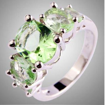 Beautiful, Rarely Seen - Green Amethyst Silver Ring - Three Large Stones