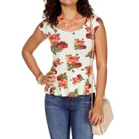 Ivory/Red Floral Peplum Top