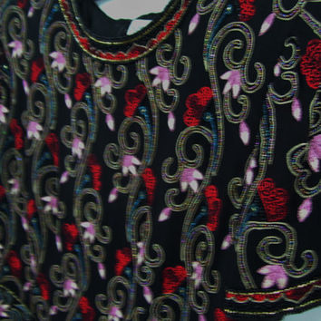 Papell Boutique Beaded Evening Top Blouse  Rich Black With Embroidery Red Gold Ivory Pink Turquoise  Size S-M
