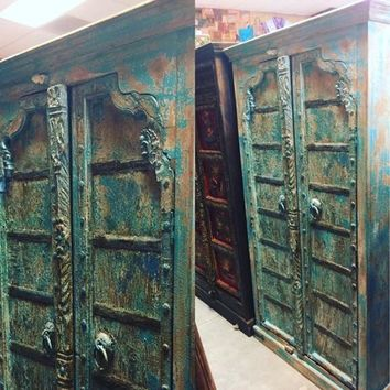 Antique Blue Arched Door Armoire India Furniture Distressed Cabinet Iron Nailed