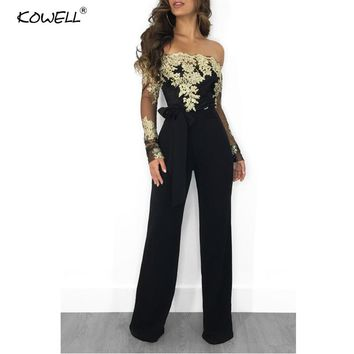 Women Jumpsuit Fashionable Ladies Long Sleeve Sexy Rompers Women Jumpsuit Latest Designs Off Shoulder Long Playsuits Overalls