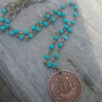 Coin jewelry. England vintage half penny coin. Turquoise necklace. Long Necklace. Golden hind Ship necklace.