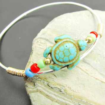 Turquoise Turtle Bangle Bracelet, Sterling Silver Stackable Bangles, LoVE Friendship Bridesmaid, Mothers Gift,Weddings, Graduations,Teens