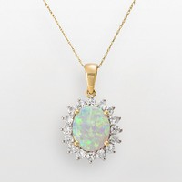 14k Gold Lab-Created Opal & White Sapphire Pendant