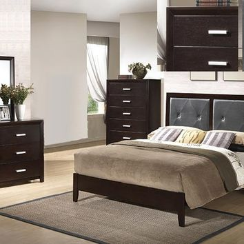 4 pc Kelly collection espresso finish wood Queen bed set with padded tufted headboard
