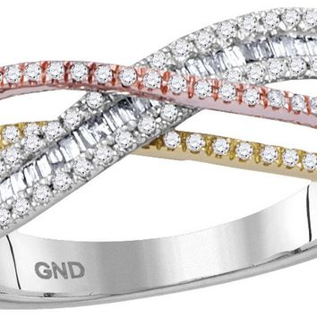 10kt White Gold Womens Round Diamond Tri-tone Crossover Band Ring 3/8 Cttw